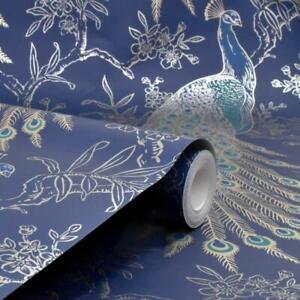 Rasch Navy Blue Metallic Gold Peacock Bird Feathers Exotic Feature Wallpaper