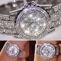 Montre Bracelet Femmes Luxe Strass Cristal Quartz en Acier Inoxydable Or Argent