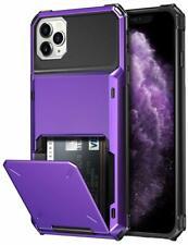 iPhone 11 Pro Wallet 4-Card Holder ID Slot Flip Door Hidden Pocket Purple Case