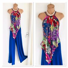 52d0e63973d6 Stunning JOSEPH RIBKOFF Blue Jumpsuit With Colourful Overlay Uk Size 10