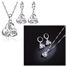 925 Silver 3 Crystal Infinity Love Necklace And Earring Jewellery Set Gift  UK
