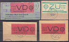 DDR Dienstmarken Lot  4 bessere Ausgaben als Briefstücke mit sauberen Stempeln