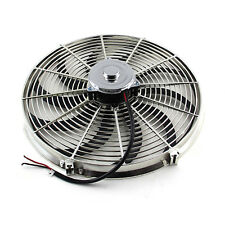 "16"" Reversable 12V 'S' Blade Radiator Electric Thermo Fan - Big Motor Chrome"