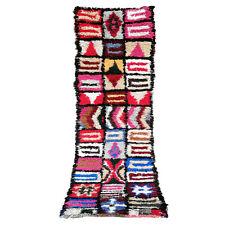AZILAL RUNNER Vintage Boucherouite Moroccan Berber handmade rug 7.6 FT X 2 FT