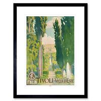 Travel Tivoli Italy Villa D'este Renaissance Fountain Garden Tree Framed Wall Ar
