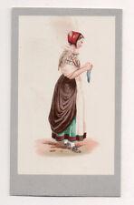 Vintage CDV Handpainted SCHLESTADT Alsac Germany Traditional National Costume