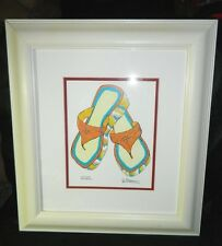 "Jennifer Goldberger ""Chyna"" Woman's Flip Flops Sandals Framed Lithograph Print"