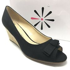 ISAAC MIZRAHI Peep2 sandals Sz 8 Wide black peep toe canvas bow straw wedge heel