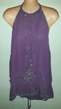 """Big City Chic"" Sheer Purple Halter Neck Beaded Top Size 20 NWT RRP $79.99"