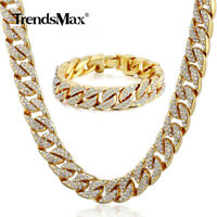 14mm Yellow Gold Filled Necklace 8-10inch Bracelet Set Curb Cuban Chain Jewelry
