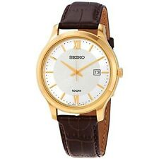 Seiko Mens  Gold Plated Brown Leather Strap Watch RRP £260.00