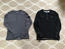 Lot of 2 Men's Vince H&M Longsleeve Henley Shirt Sz S M jcrew zara grey black