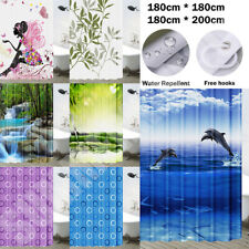 Extra Long Polyester Shower Curtain Waterproof With Hooks 180x180cm 180x200cm