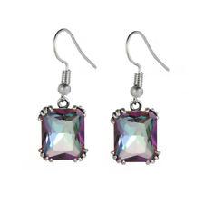 """Multi Gems Silver for Women Jewelry Gemstone Dangle Earrings 1 1/8"""" FH8437-40"""
