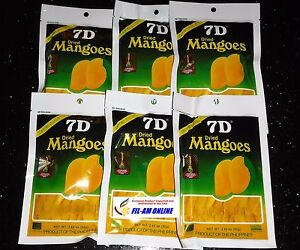 New Sealed 7D Dried Mangoes SIX PACK 6X80g Cebu Delicious Fast Ship! USA Seller!