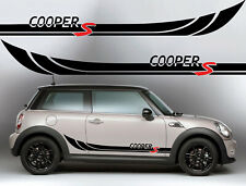 MINI COOPER S LOGO SIDE STRIPES DECALS BLACK WITH RED S - UK SELLER - FREE P&P