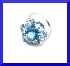 NEW  BLUE TOPAZ 925 SILVER COCKTAIL RING SIZE 6 FREE SHIPPING # 186