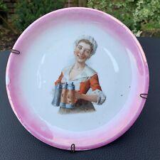 Antique German Porcelain Wall Hanging Plate Bavarian Lady Portrait Beer Steins