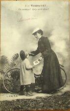 Bicycle/Bike, Woman & Child 1904 Postcard: 'Viendra-t-Il?