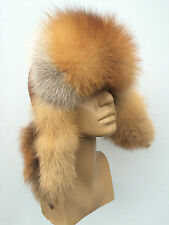 Red Fox Fur Ushanka Hat. Suede Top. Real Genuine Trapper Aviator Hat.TOP Quality