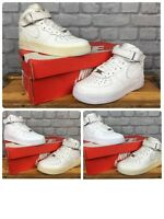 NIKE AIR FORCE 1 MID WHITE LEATHER BASKETBALL TRAINERS CHILDRENS LADIES RRP £60