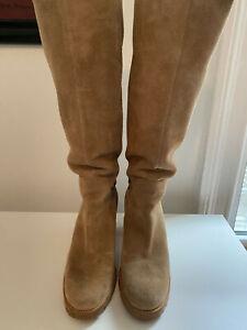 Christian Louboutin | Cate Suede Chain Trim Tall Boots in Taupe | EUR 40.5