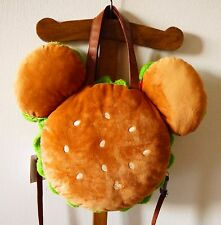 Tokyo Disneyland Disney Mickey mouse burger shape plush tote bag Japan New