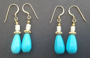 Turquoise and Rose Quartz 14ct Gold Filled Dangle Earrings