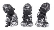 22cm Cute Buddhas/Monks Posing & Sitting in Silver & Black, Meditating Zen