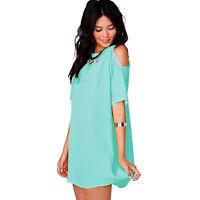 Women Chiffon Baggy Loose Casual Blouse Long Top Shirt Cocktail Party Mini Dress
