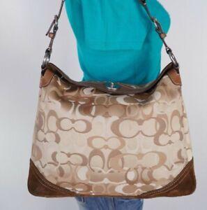 COACH Chelsea Lrg Brown Beige Leather Canvas Shoulder Hobo Satchel Purse Bag