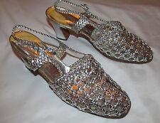 60'S MANDARIN metallic silver leather woven braided net slinback shoes 7.5