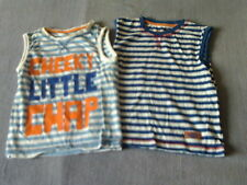 Boys 3-4 Years - Two Sleeveless Vest Tops - Blue & White Striped with Logos