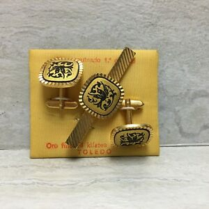 Damascene 1. Quality Fine Gold 24K Inlaid Cuff Links & Tie Bar/Clip Set, EUC