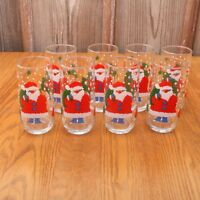 8 Santa Claus Clear Glass Tumblers Water Glass Cup Christmas