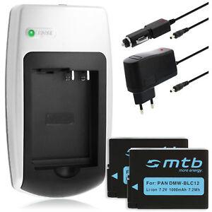 Ladegerät + 2x Akku DMW-BLC12 / DMWBLC12 für Panasonic Lumix DMC-G7, G70