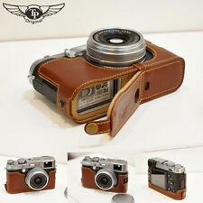 Genuine real Leather Half Camera Case bag Cover for FUJIFILM X100 X100S Brown
