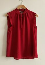 H&M size 10 red sleeveless tie front chiffon top/blouse