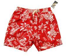 "Polo Ralph Lauren Men's Red Hawaiian Polo Bear 5.5"" Swim Trunks"