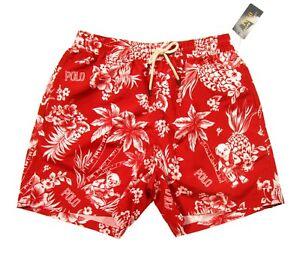 "Polo Ralph Lauren Men's Hawaiian Polo Bear 5.5"" Red Swim Trunks"