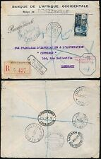 FRENCH AFRICA 1940 POSTAL SERVICE INTERRUPTED...REGISTERED AEF + DAHOMEY + LAGOS