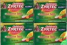Lot of 4 ZYRTEC ALLERGY DISSOLVE TABLETS Cetirizine 10mg 24 hour Children's 48