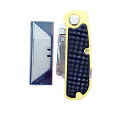 Lock Back Folding Utility Knife with 5 Replacement Blade ABS Handle Quick Change