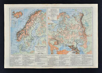 1885 Drioux Map - Physical Sweden Norway Denmark Russia Moscow Stockholm Europe