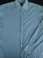 Hugo Boss Mens Button Front Long Sleeve Cotton White Green Stripe Shirt Large L