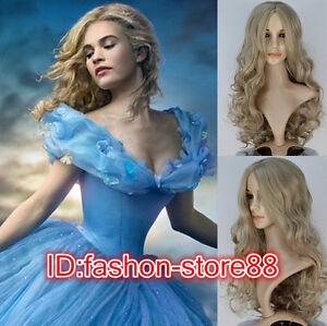 New Movie Princess Cinderella Wig Long Curly Ash Blonde Anime Cosplay Wig