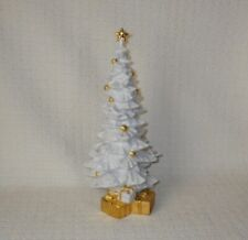 Lladro Spain O Christmas Tree Figurine White Porcelain Tree w/Gold Ornaments