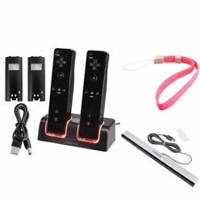 Remote Controller Charger+2 Battery+Wired Sensor Bar+Wrist For Nintendo Wii WiiU