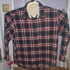 Penquin Munsingwear Flannel Shirt Large Long Sleeve  Red BLK Plaid