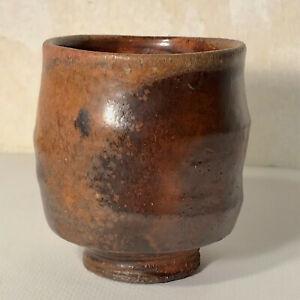 Ron Meyers Yunomi, Cup, Stoneware, wood fired, shino glaze, Studio Pottery